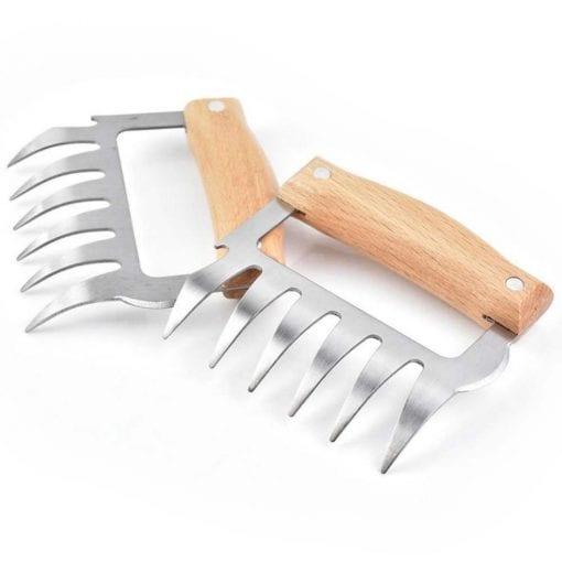 Vlees klauwen met houten handvat